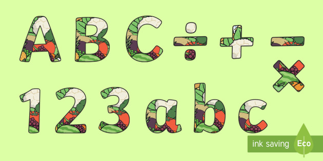 Food Themed Display Letters (2 per A4) - food alphabet, food lettering, food display lettering, food letters, food display letters, 2 per page food letters