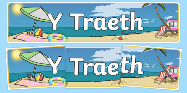 Beach Themed Banner Welsh - traeth, header, summer