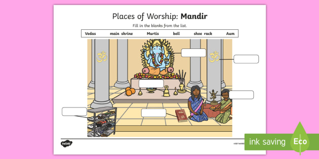 R8657 Places of Worship Mandir Activity Sheet - CfE Religious Education, places of worship, church, mosque, mandir, synagogue, worksheet
