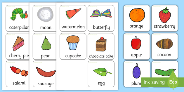 Flash Cards to Support Teaching on The Very Hungry Caterpillar - flash cards, word cards
