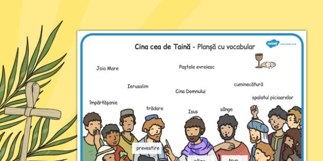Plansa, Cina cea de Taina - vocabular, paste, Iisus, isus