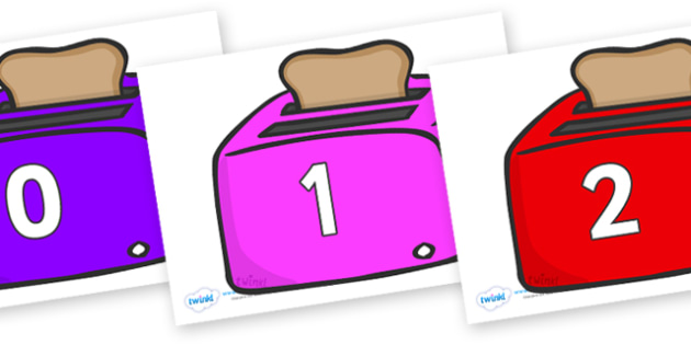 Numbers 0-31 on Toasters - 0-31, foundation stage numeracy, Number recognition, Number flashcards, counting, number frieze, Display numbers, number posters
