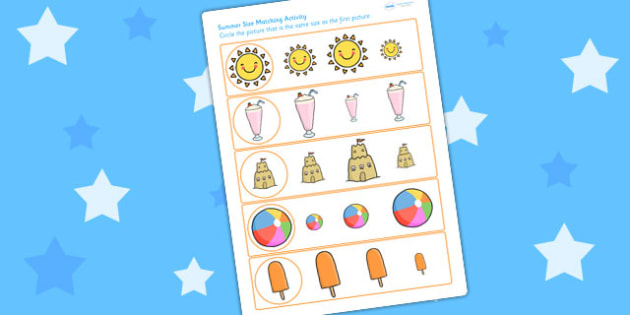 Summer Differentiated Size Matching Worksheet - size match, order