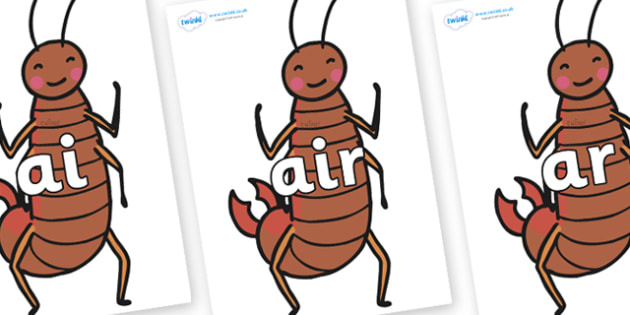 Phase 3 Phonemes on Earwigs - Phonemes, phoneme, Phase 3, Phase three, Foundation, Literacy, Letters and Sounds, DfES, display