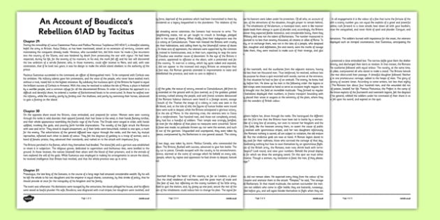An Account of Boudicca's Rebellion 61AD by Tacitus Print Out - an account, boudicca, rebellion, 61ad, print out