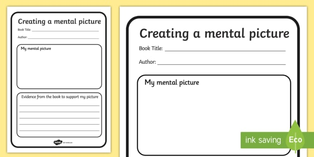 Comprehension Creating A Mental Picture Writing Template - comprehension, creating a mental picture, mental picture, worksheet, comprehension worksheet,  reading worksheet