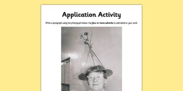 Adverbs Application Activity Sheet - GPS, spelling, punctuation, grammar, worksheet