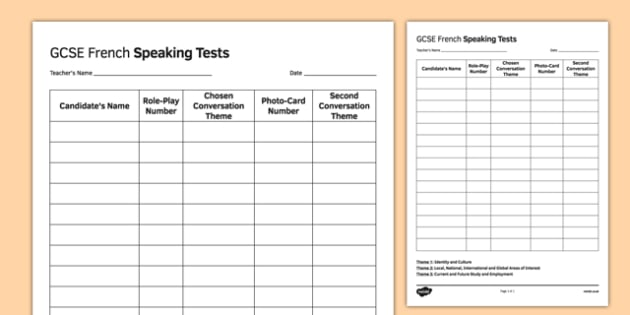 GCSE French Speaking Test Sequence Template - GCSE, Speaking, Exam, Test, Admin, Template