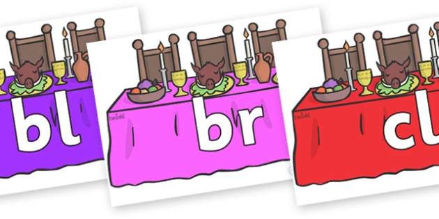 Initial Letter Blends on Dining Tables - Initial Letters, initial letter, letter blend, letter blends, consonant, consonants, digraph, trigraph, literacy, alphabet, letters, foundation stage literacy