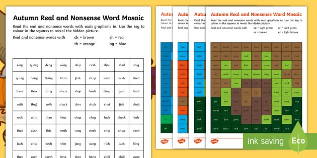 Autumn Phase 3  Phonics Mosaic Activity Sheets - phoneme, decode, pattern, nonsense, Fluency, worksheet
