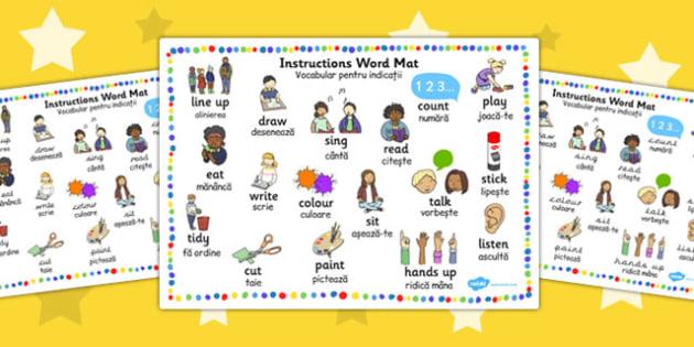 New EAL Starter Instructions Word Mat EAL Romanian Translation