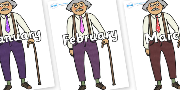 Months of the Year on Little Old Man - Months of the Year, Months poster, Months display, display, poster, frieze, Months, month, January, February, March, April, May, June, July, August, September