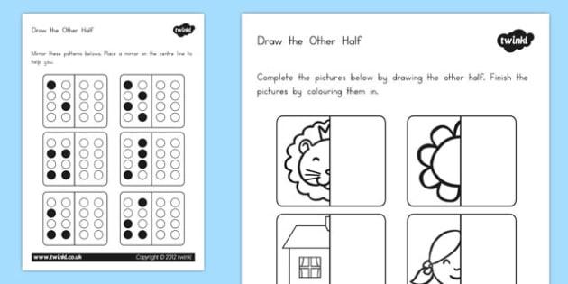 Draw the Other Half Worksheet - australia, draw, other, half