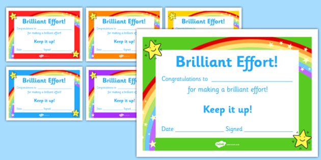 Brilliant Effort Certificates - brilliant effort, certificates, brilliant, effort, award, reward