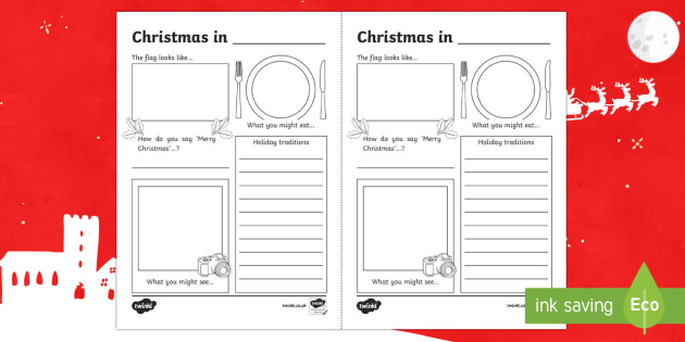 Comparing Christmas Around the World Writing Frames - christmas