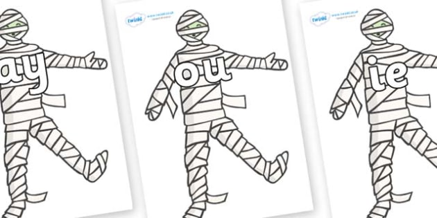 Phase 5 Phonemes on Mummy (Plain) - Phonemes, phoneme, Phase 5, Phase five, Foundation, Literacy, Letters and Sounds, DfES, display
