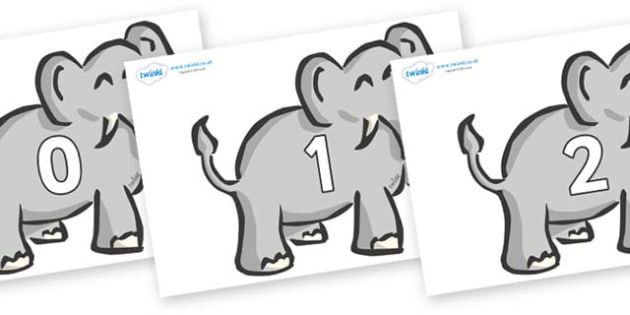 Numbers 0-31 on Elephants - 0-31, foundation stage numeracy, Number recognition, Number flashcards, counting, number frieze, Display numbers, number posters