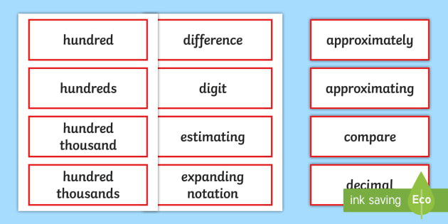 Year 6 2014 Curriculum Number and Place Value Vocabulary Cards