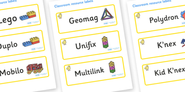 Chicks Themed Editable Construction Area Resource Labels - Themed Construction resource labels, Label template, Resource Label, Name Labels, Editable Labels, Drawer Labels, KS1 Labels, Foundation Labels, Foundation Stage Labels