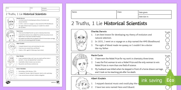 2 Truths, 1 Lie Historical Scientists Homework Activity Sheet - Homework, research, facts, scientists, historical scientists, scientist, worksheet