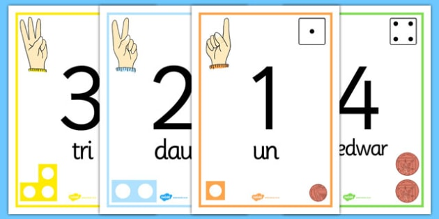 Welsh Visual Number Line Posters 1-30 - welsh, number line, posters