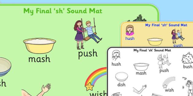 Final 'Sh' Sound Word Mat - final sh, sound, word mat, word, mat