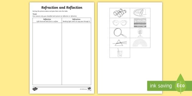 Refraction and Reflection Activity Sheet worksheet ACSSU080 – Refraction Worksheet