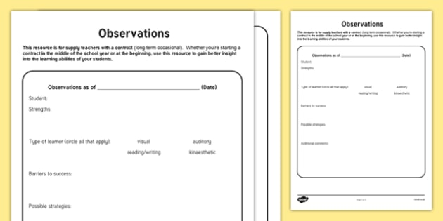 Observations Editable Notes