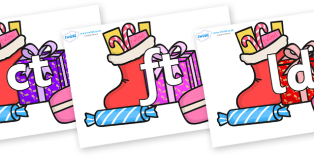 Final Letter Blends on Christmas Gifts - Final Letters, final letter, letter blend, letter blends, consonant, consonants, digraph, trigraph, literacy, alphabet, letters, foundation stage literacy