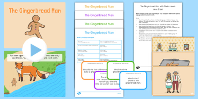 The Gingerbread Man with Blanks Levels Questions - receptive language, expressive language, verbal reasoning, language delay, language disorder, comprehension, autism, Language for Thinking