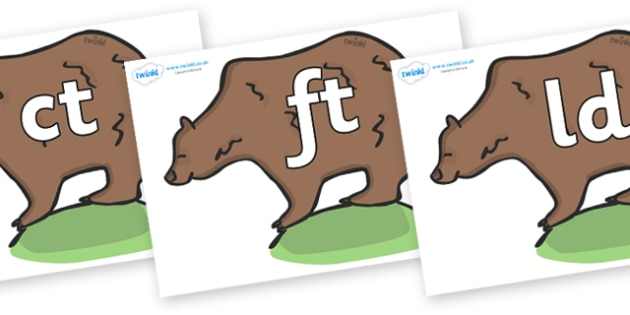 Final Letter Blends on Bears - Final Letters, final letter, letter blend, letter blends, consonant, consonants, digraph, trigraph, literacy, alphabet, letters, foundation stage literacy
