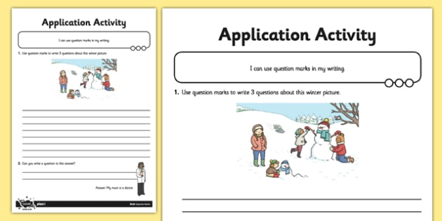 Question Marks Application Activity Sheet - GPS, punctuation, sentence, SPaG, worksheet