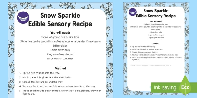 Snow Sparkle Edible Sensory Recipe - The Snowman, Raymond Briggs, Christmas, winter, sensory play, edible sensory, snow, snowman