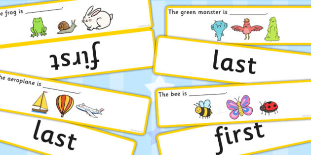 Fill In The Sentence 'First' and 'Last' Concept Activity Matching Cards - concepts, cards