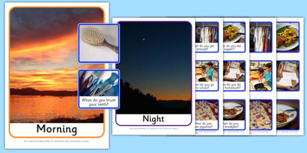 Photo Morning and Night Sorting Activity - sorting, activity, photo, morning, night