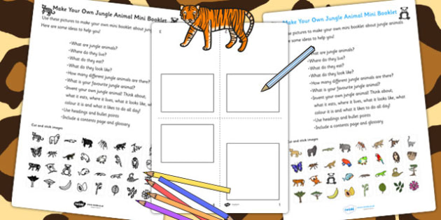 Make Your Own Jungle Animal Mini Booklet - jungle, animals, books