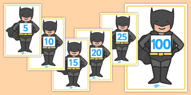 Counting in Fives on Bat Superhero - counting in 5s, bat superhero, batman, count, five