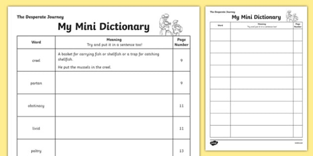 The Desperate Journey Mini Dictionary - highland clearances, cfe, curriculum for excellence, scotland, history, geography, ks2, literacy