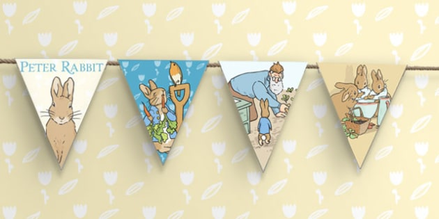 The Tale of Peter Rabbit Bunting - peter rabbit, bunting, display