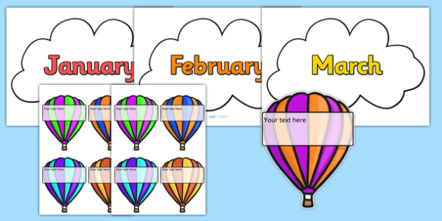 Editable Hot-Air Balloon Birthday Display - birthday, birthday display, editable birthday display, classroom display, classroom management, hot air balloon