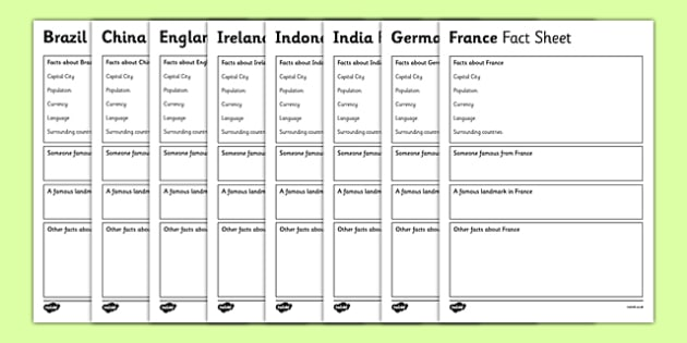 Countries Factsheet Writing Templates  Country Factsheets