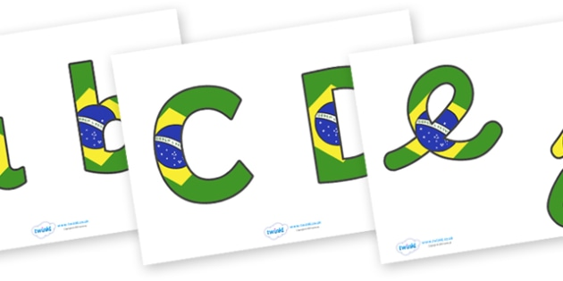Brazilian Flag Display Lettering (Lowercase) - Brazilian Flag Display Lettering, brazil, display lettering, lowercase, alphabet, A-Z, A4, display, Alphabet frieze, Display letters, Letter posters, A-Z letters, Alphabet flashcards