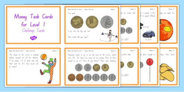 New Zealand Money Maths Challenge Cards