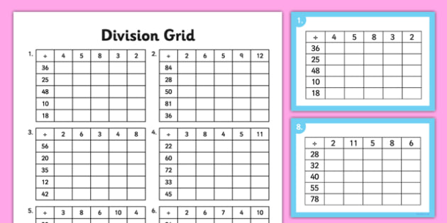 Division Grid Activity Sheet and Challenge Cards - division, grid, activity, challenge cards, worksheet