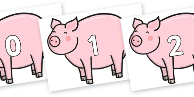 Numbers 0-31 on Chinese New Year Pig - 0-31, foundation stage numeracy, Number recognition, Number flashcards, counting, number frieze, Display numbers, number posters