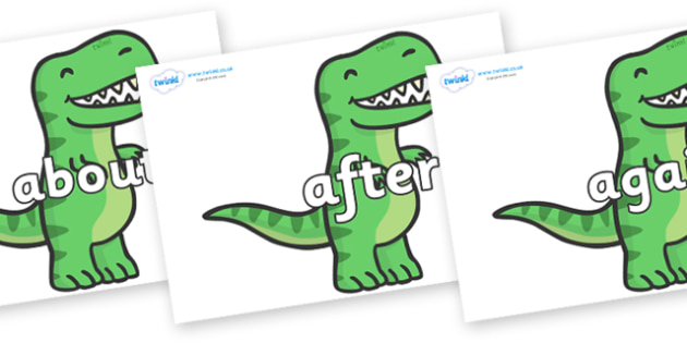 KS1 Keywords on T Rex Dinosaurs - KS1, CLL, Communication language and literacy, Display, Key words, high frequency words, foundation stage literacy, DfES Letters and Sounds, Letters and Sounds, spelling