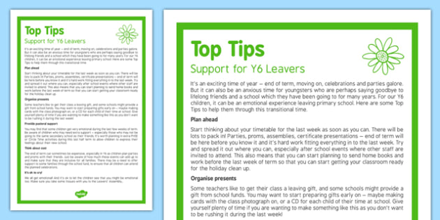 Top Tips to Support Year 6 Leavers Top Tips - End of Year 6 Tips