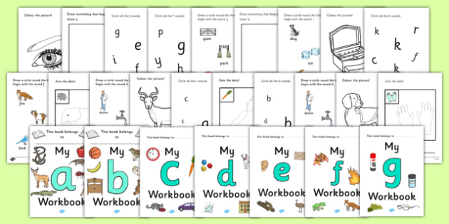My Alphabet Workbook (cursive lowercase)  - workbook, sounds, a-z, cursive, lowercase, letters, alphabet, activity, handwriting, writing