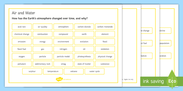 OCR 21st Century Combined Science Air and Water Word Mat - Word Mat, gcse, chemistry,  atmosphere, earth, acid rain, evolution, pollution, emissions,  carbon c