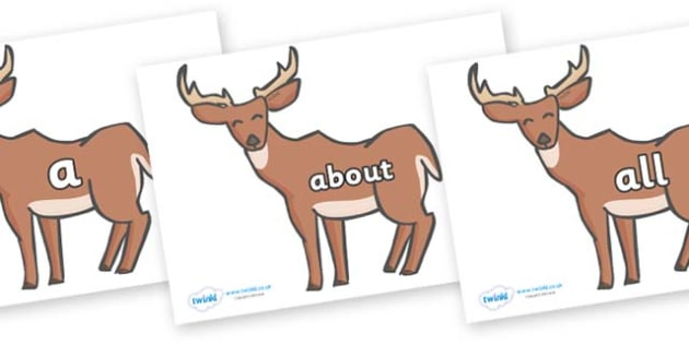 100 High Frequency Words on Deer - High frequency words, hfw, DfES Letters and Sounds, Letters and Sounds, display words